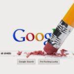 lápiz borrando a google